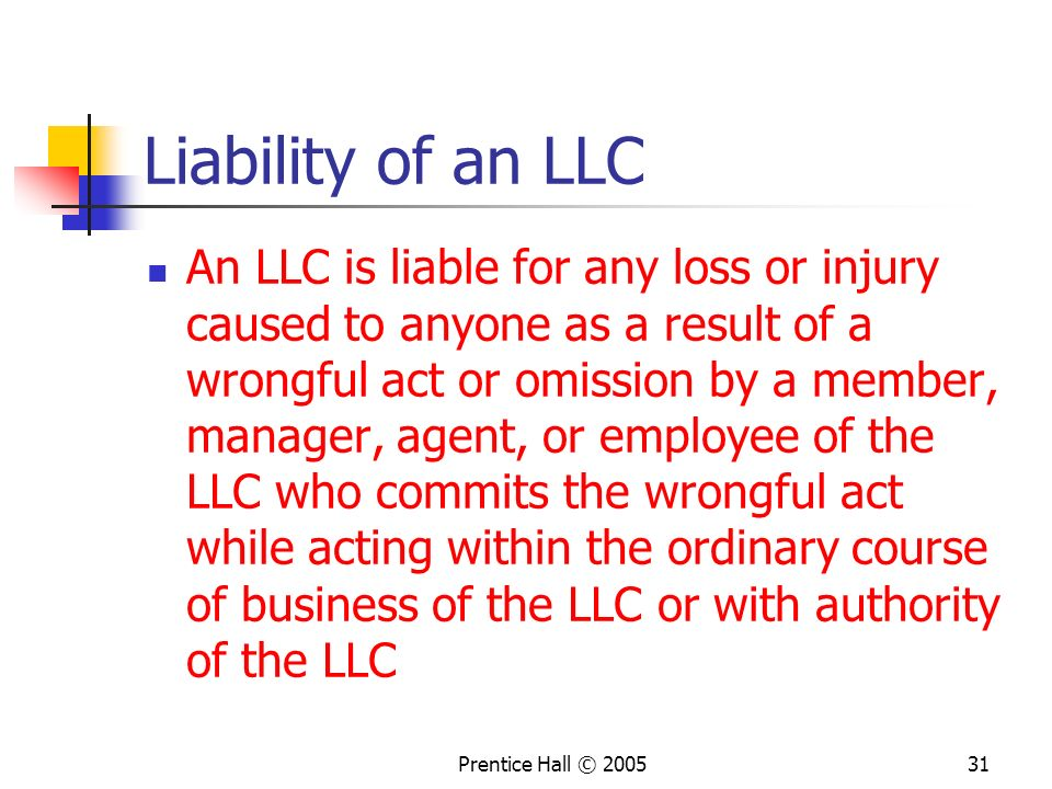 Liability of an LLC