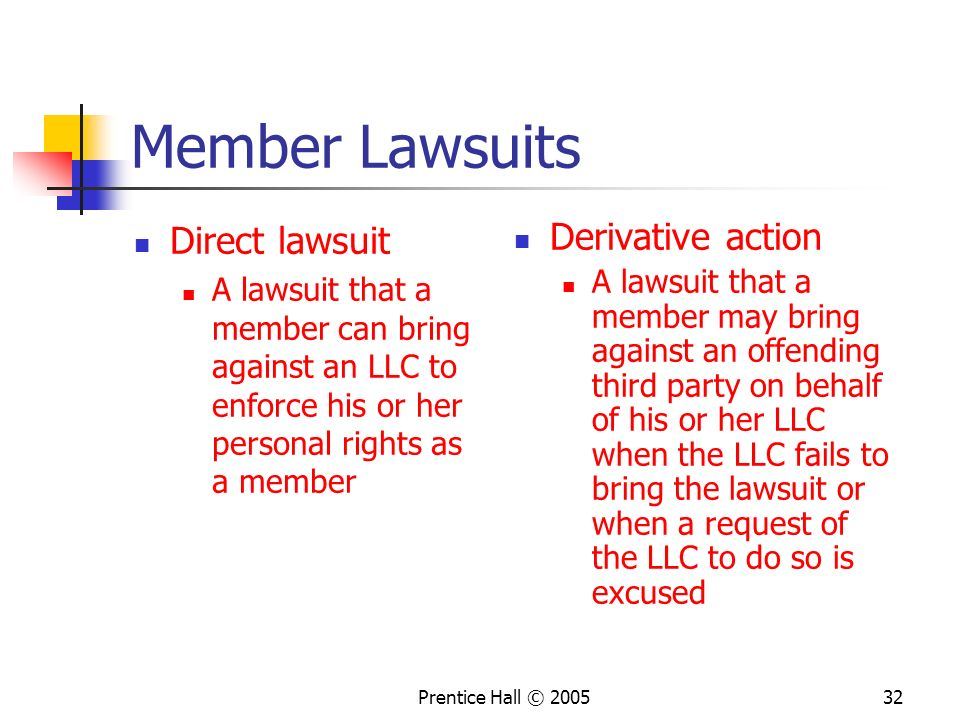 Member Lawsuits Direct lawsuit Derivative action
