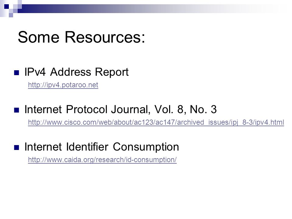 Some Resources: IPv4 Address Report