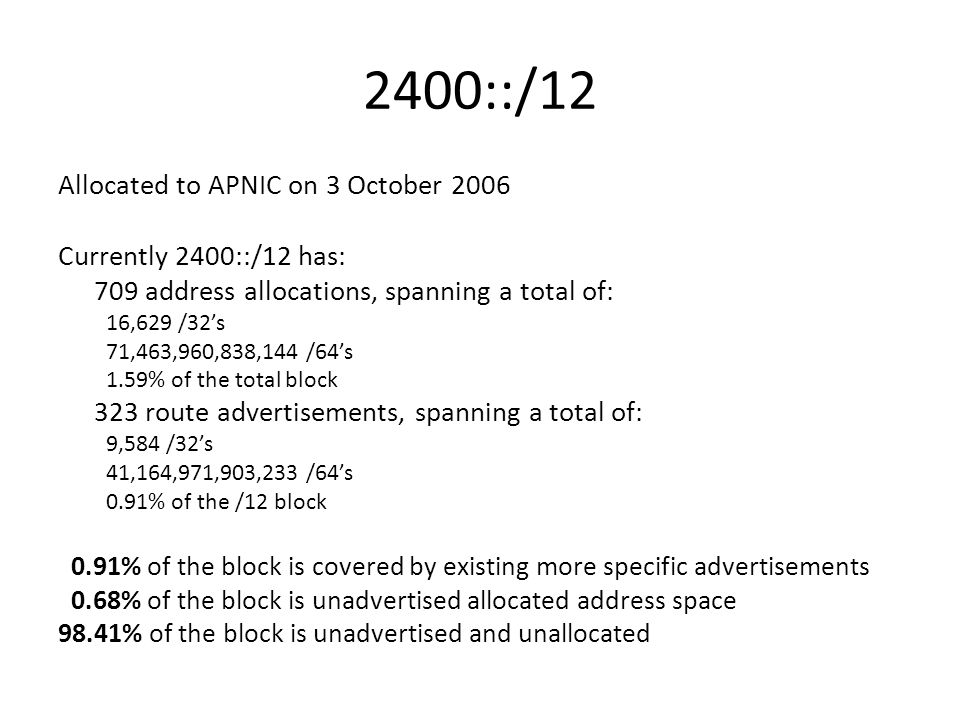 2400::/12 Allocated to APNIC on 3 October 2006