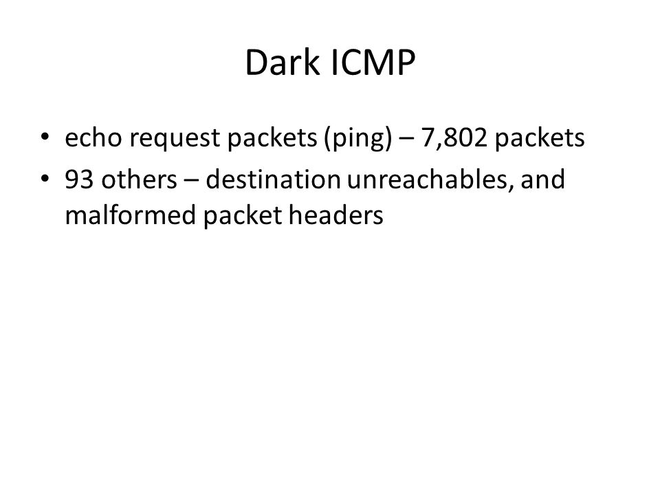Dark ICMP echo request packets (ping) – 7,802 packets