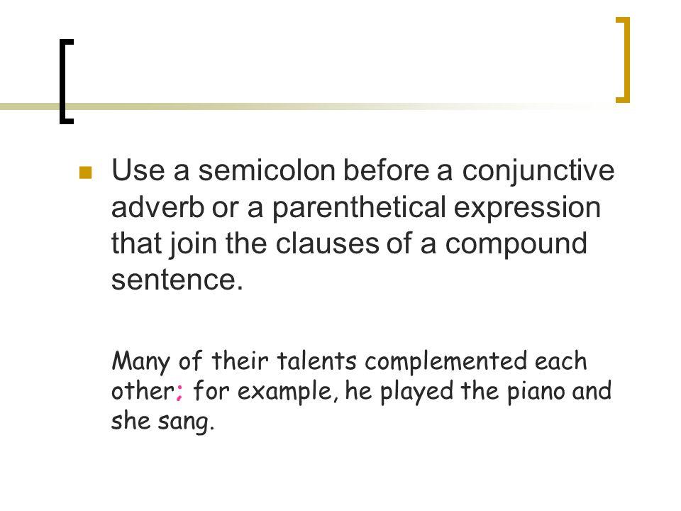 compound sentence with semicolon