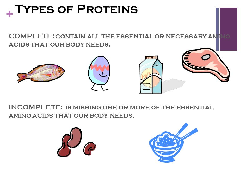 Types of Proteins COMPLETE: contain all the essential or necessary amino acids that our body needs.