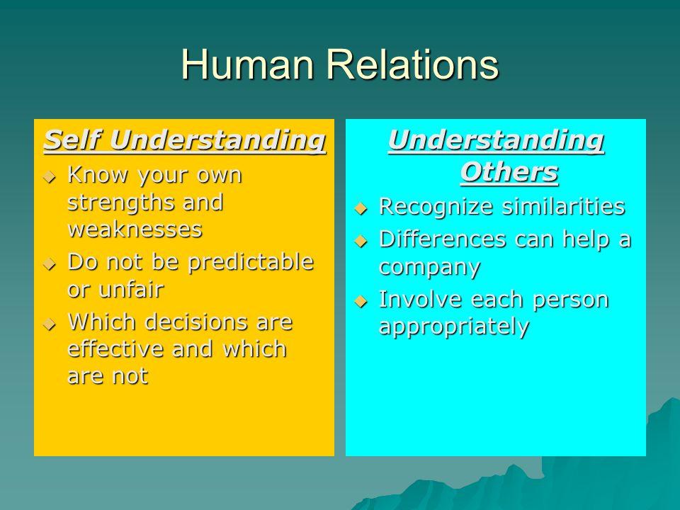 Human Relations Self Understanding Understanding Others