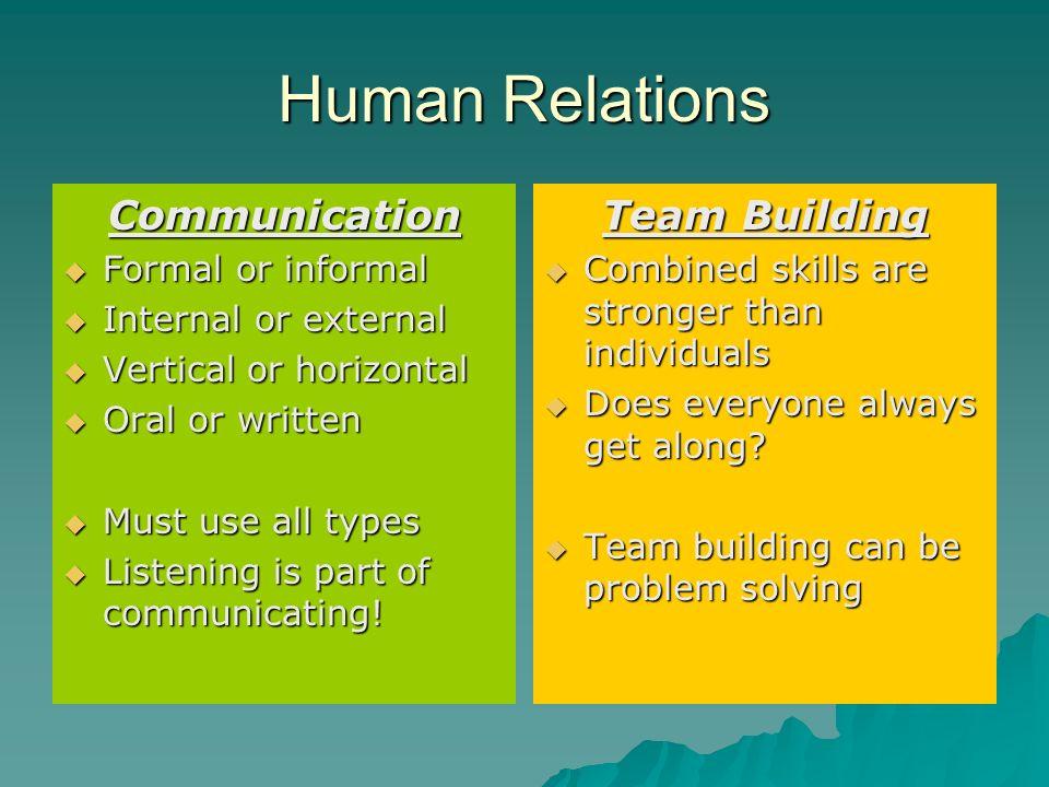Human Relations Communication Team Building Formal or informal