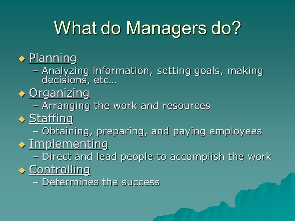 What do Managers do Planning Organizing Staffing Implementing