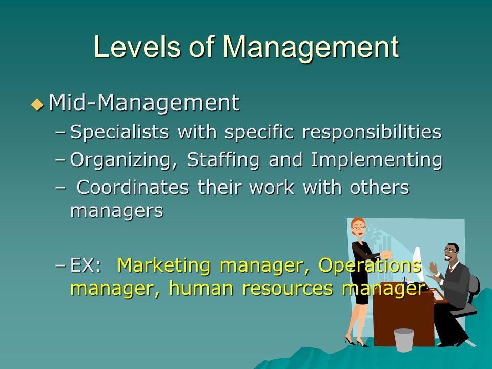 Levels of Management Mid-Management