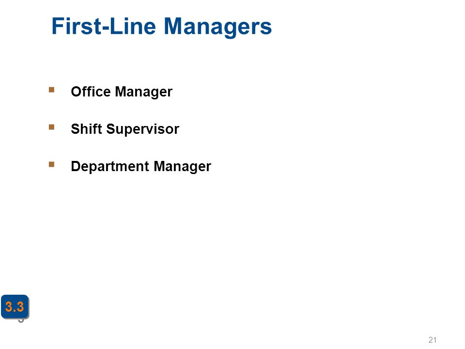 First-Line Managers Office Manager Shift Supervisor Department Manager