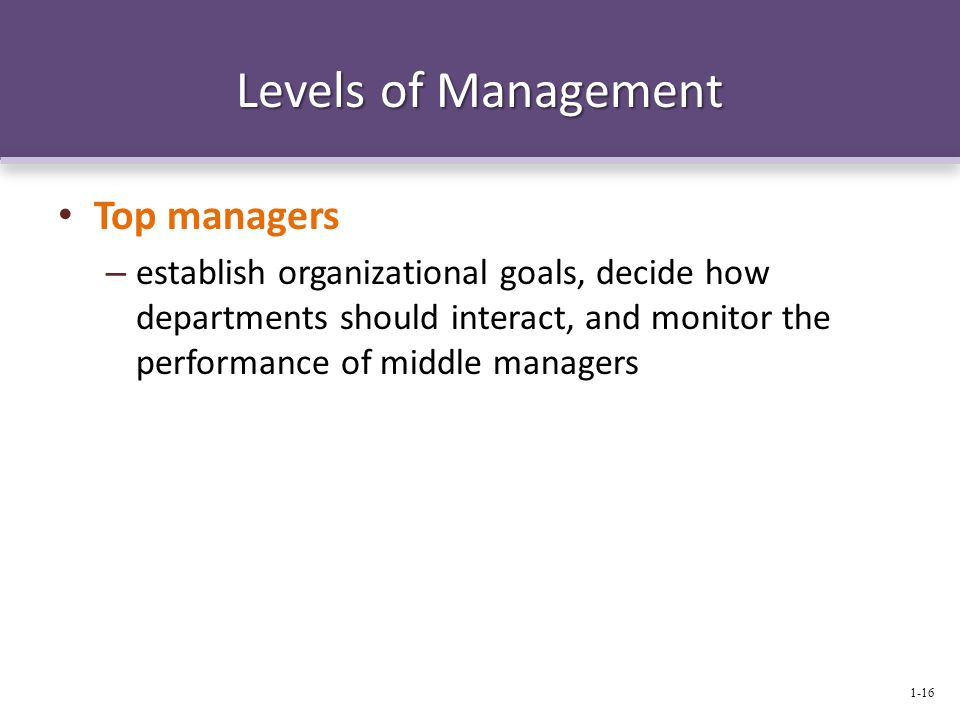 Levels of Management Top managers