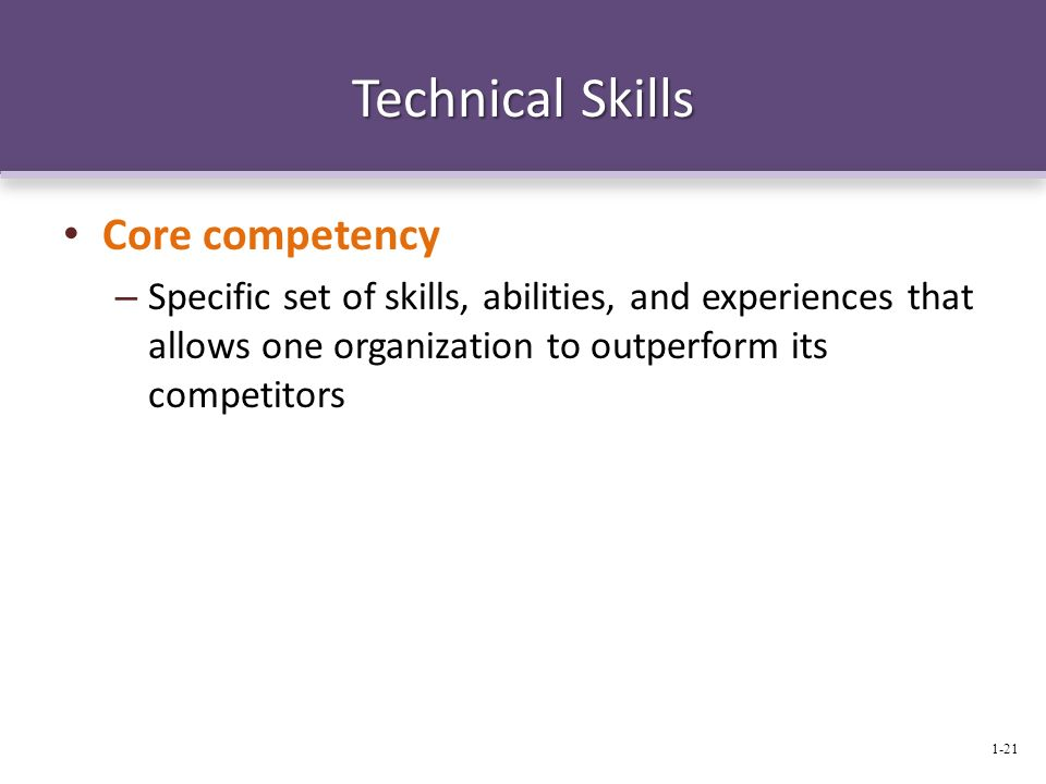 Technical Skills Core competency