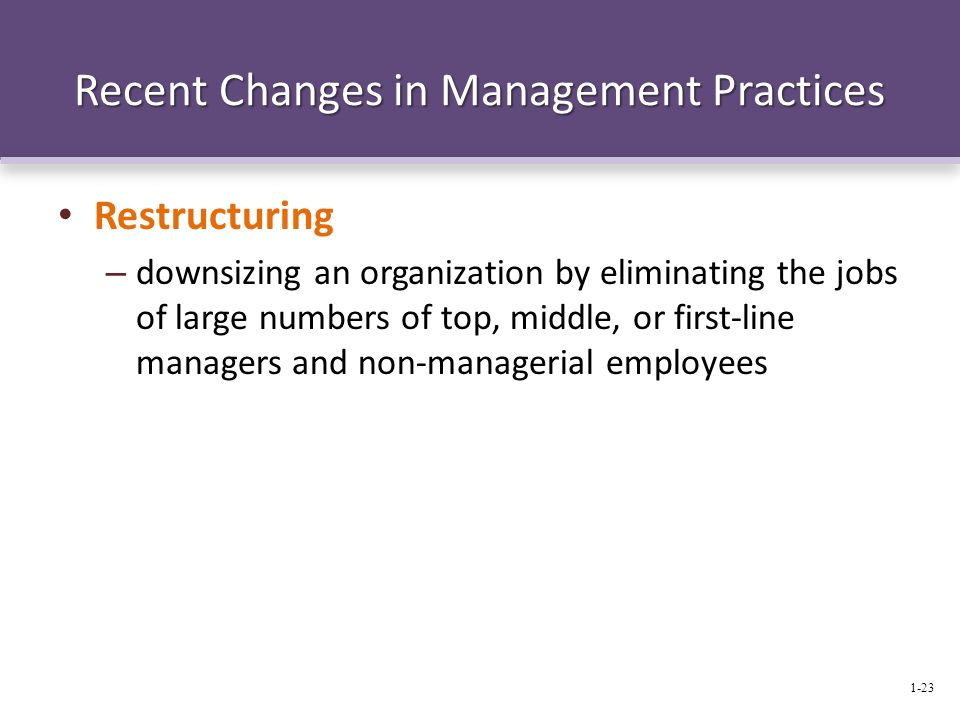 Recent Changes in Management Practices