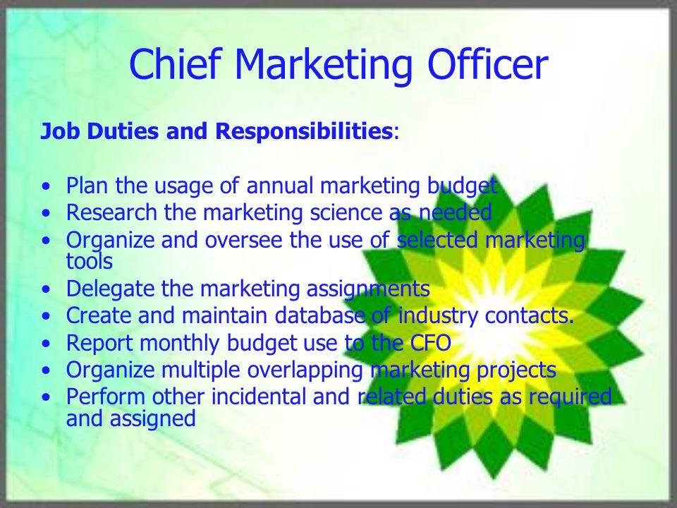 Human Resource Management Plan ppt download – Chief Marketing Officer Job Description