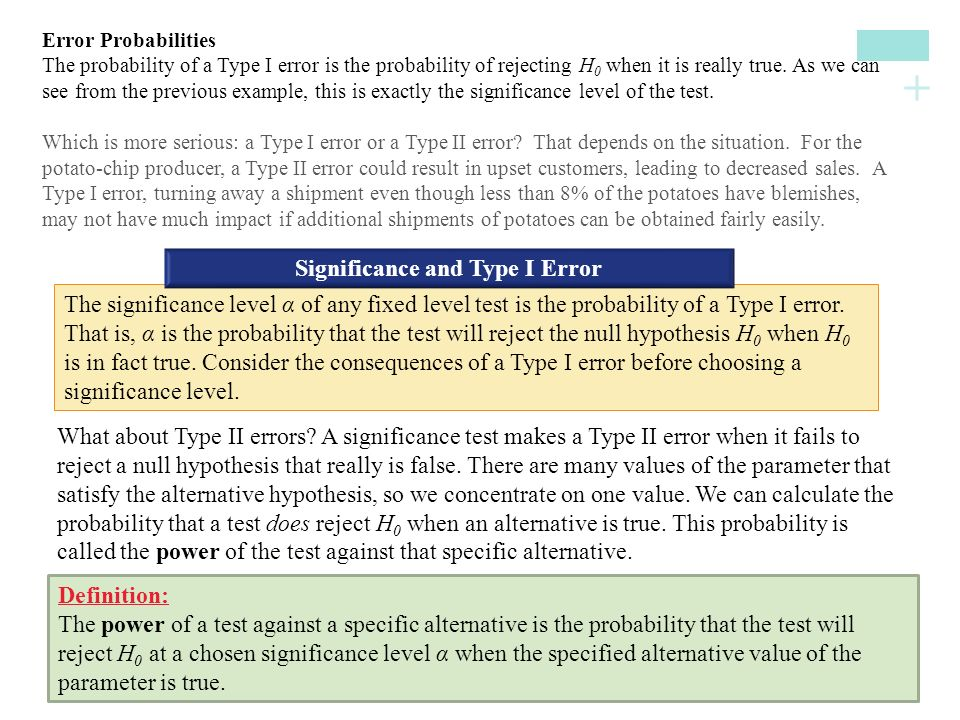 Significance and Type I Error