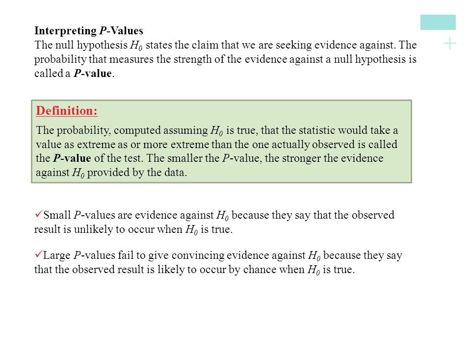 Definition: Interpreting P-Values