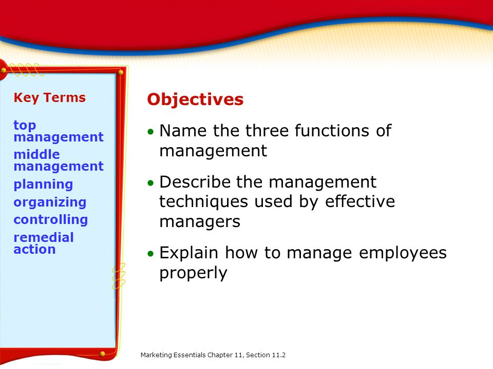Name the three functions of management