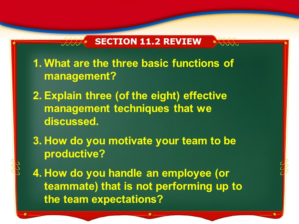What are the three basic functions of management