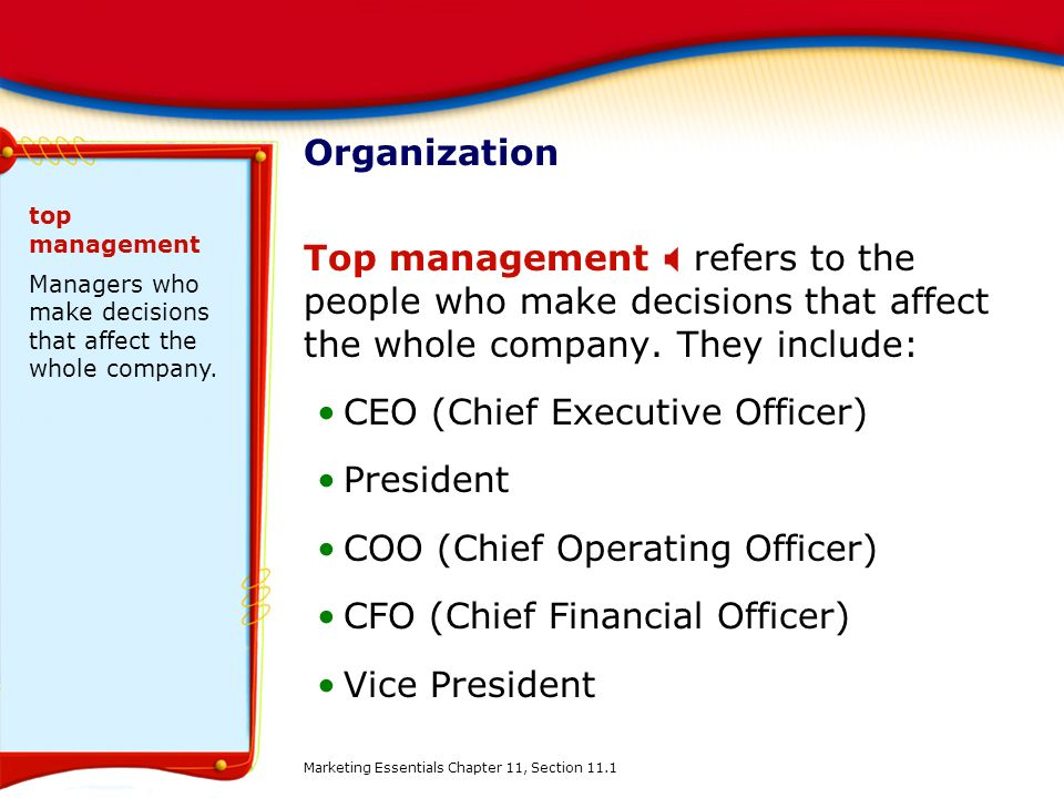 CEO (Chief Executive Officer) President COO (Chief Operating Officer)