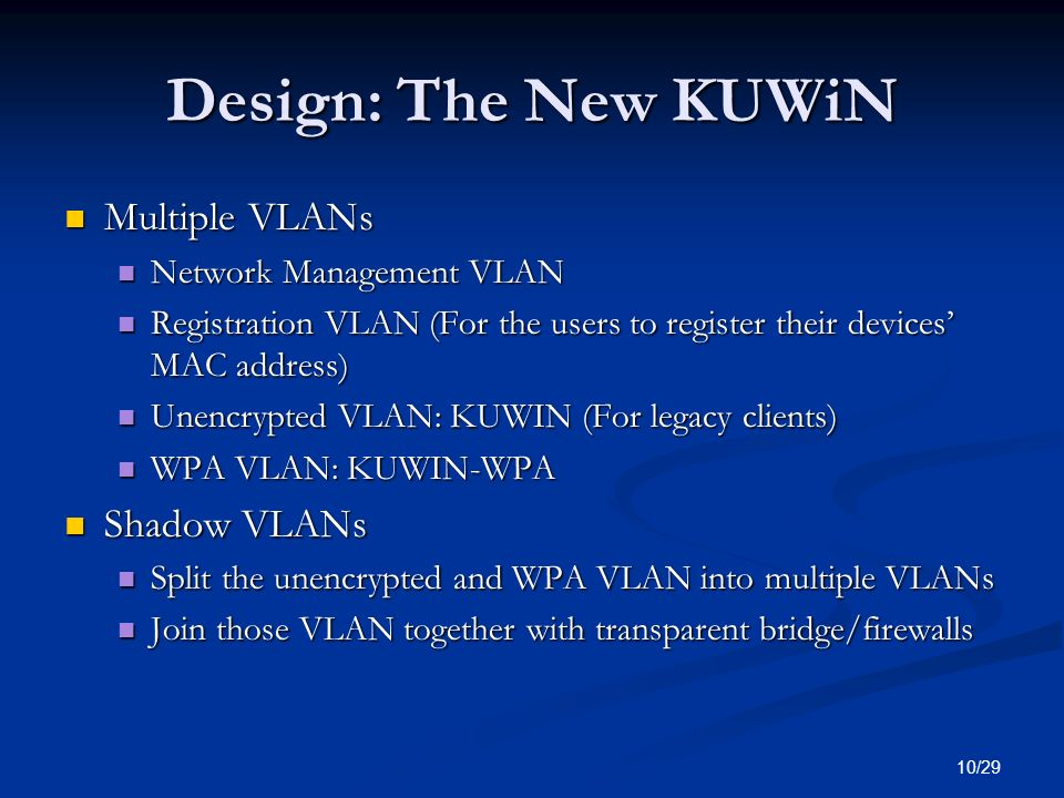 Design: The New KUWiN Multiple VLANs Shadow VLANs