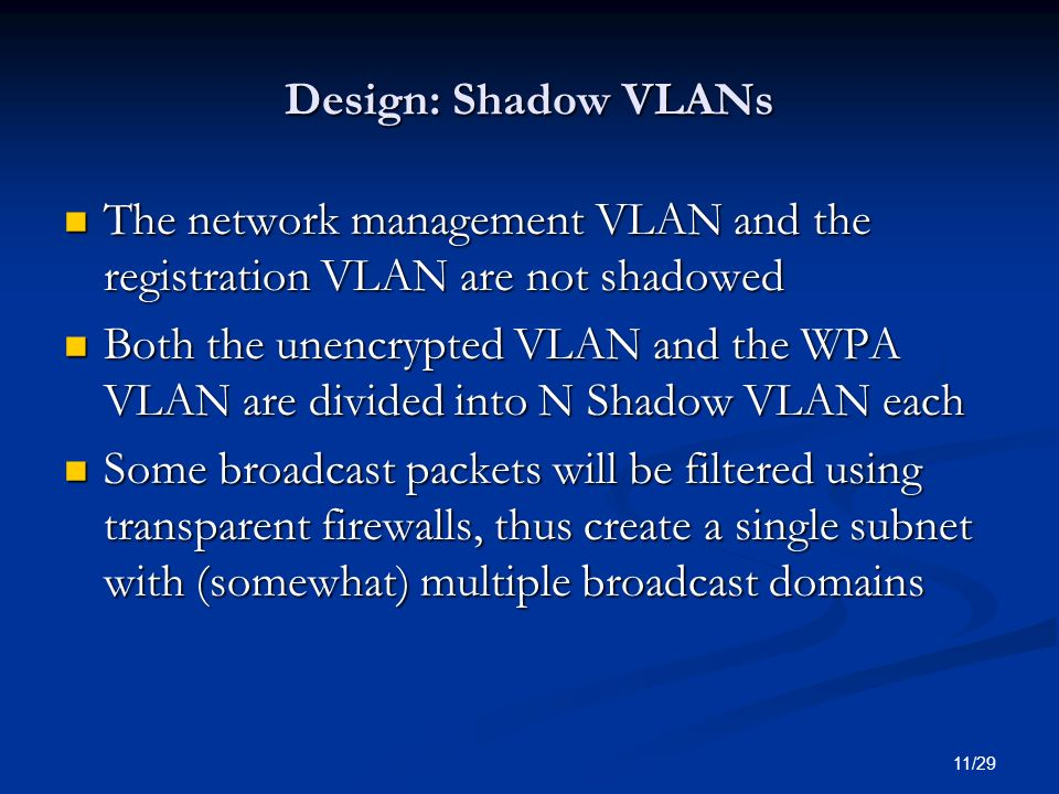 Design: Shadow VLANs The network management VLAN and the registration VLAN are not shadowed.