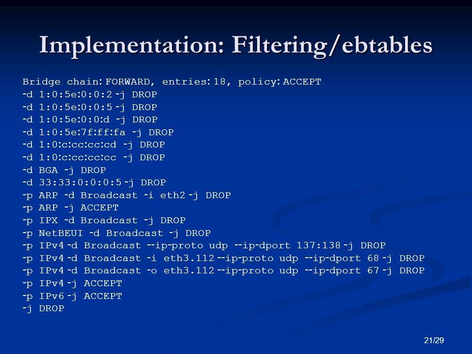 Implementation: Filtering/ebtables