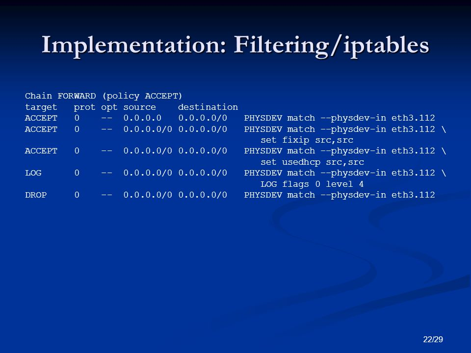 Implementation: Filtering/iptables