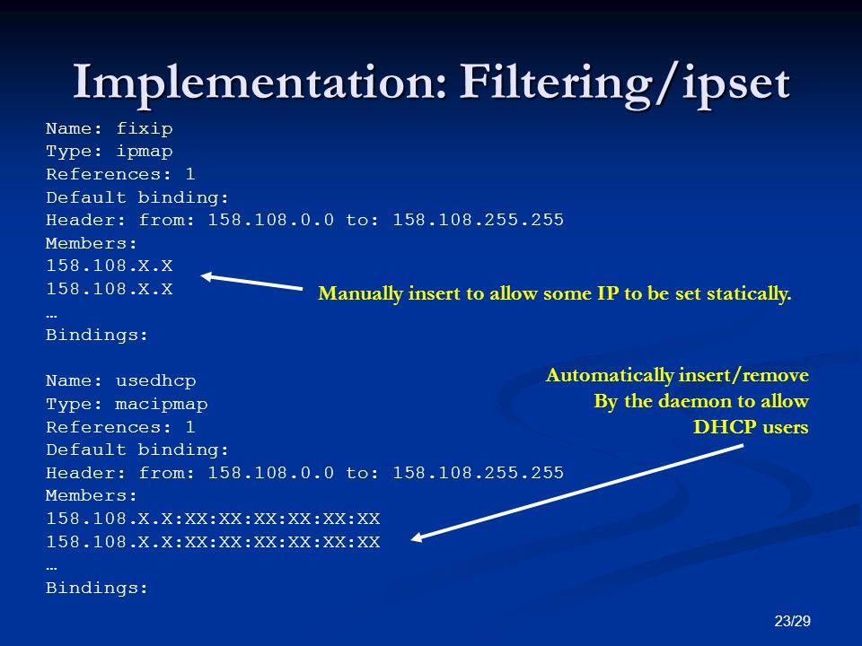 Implementation: Filtering/ipset