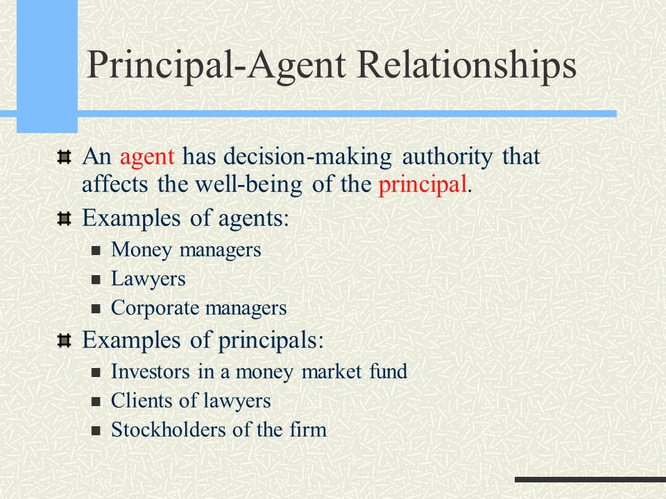 what is the principle agent relationship essay Agency is a tri-parte relationship between an agent, his principal and third party  whilst the vast majority of agency relationships are governed.