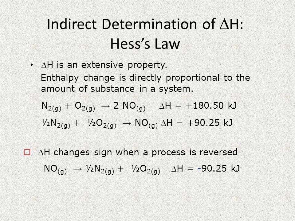 Indirect Determination of H: Hess's Law