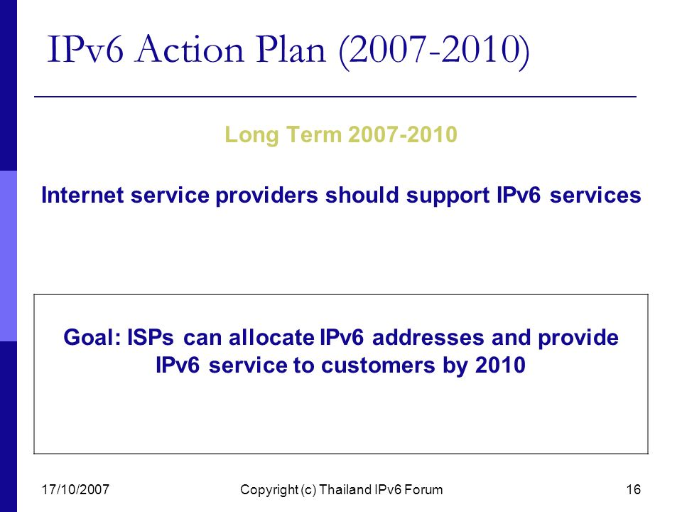 Internet service providers should support IPv6 services