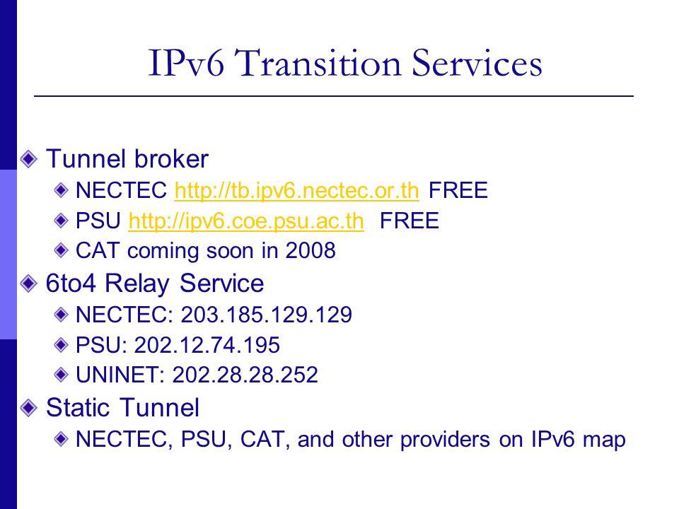 IPv6 Transition Services