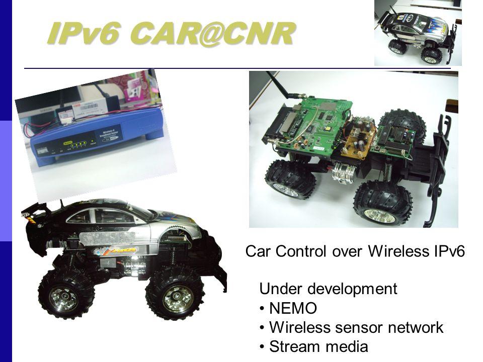 IPv6 CAR@CNR Car Control over Wireless IPv6 Under development NEMO