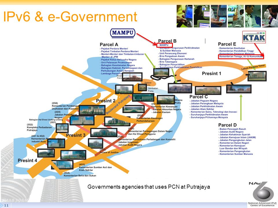 IPv6 & e-Government Governments agencies that uses PCN at Putrajaya