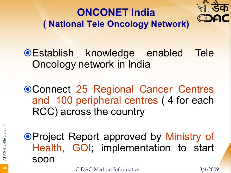ONCONET India ( National Tele Oncology Network)