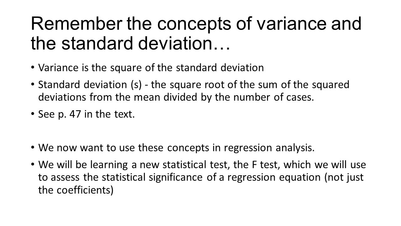Remember The Concepts Of Variance And The Standard Deviation…
