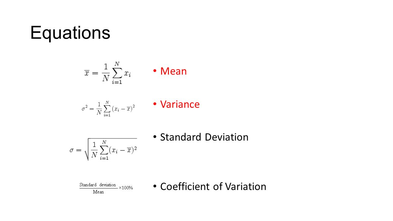 4 Equations Mean Variance Standard Deviation Coefficient Of Variation