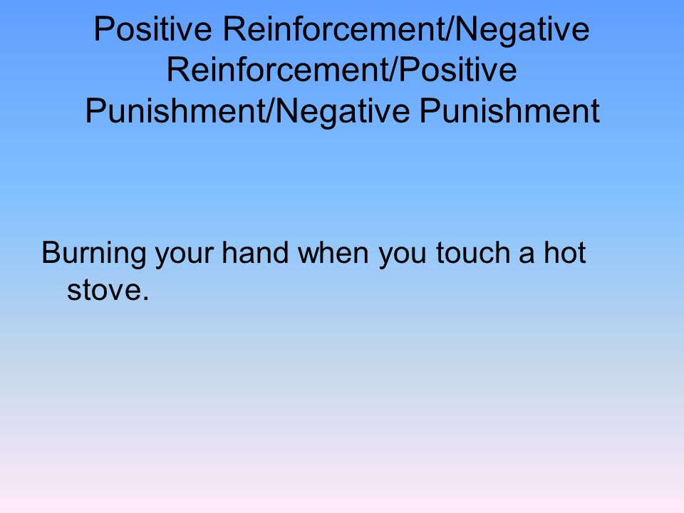 positive and negative reinforcements Examples of negative reinforcement in dog training and was having trouble understanding the concepts of positive and negative, reinforcement and punishment.