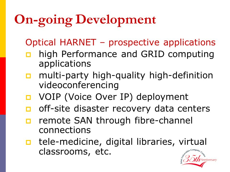 On-going Development Optical HARNET – prospective applications