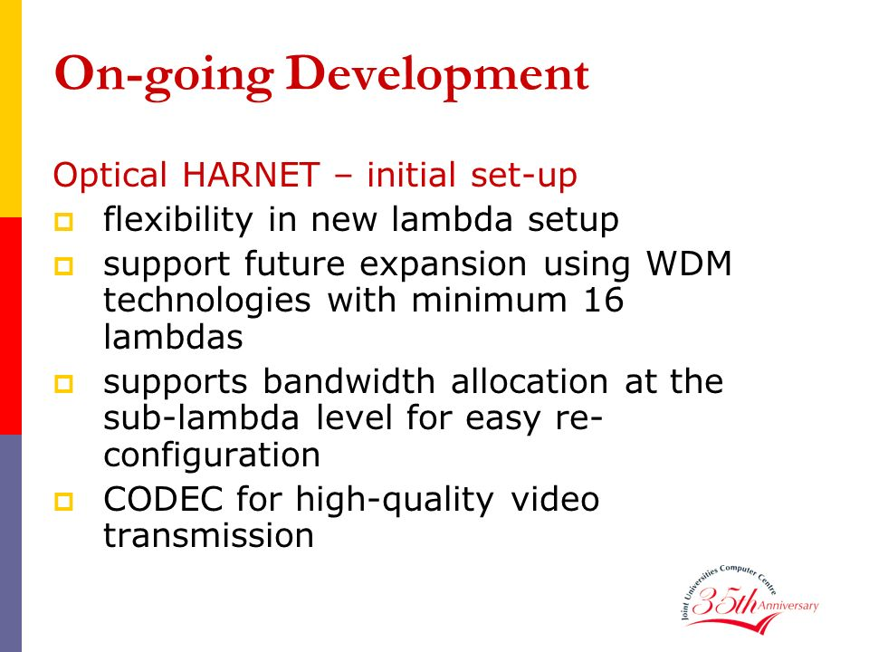 On-going Development Optical HARNET – initial set-up