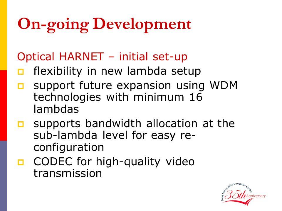 On-going Development Optical HARNET – initial set-up