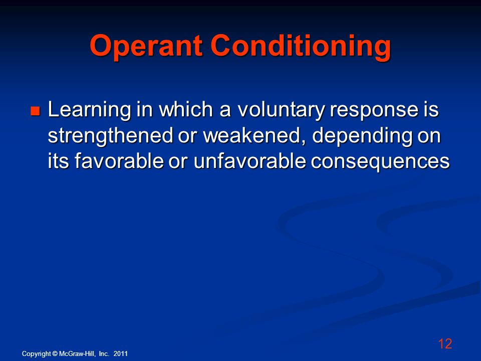 Operant Conditioning Learning in which a voluntary response is strengthened or weakened, depending on its favorable or unfavorable consequences.