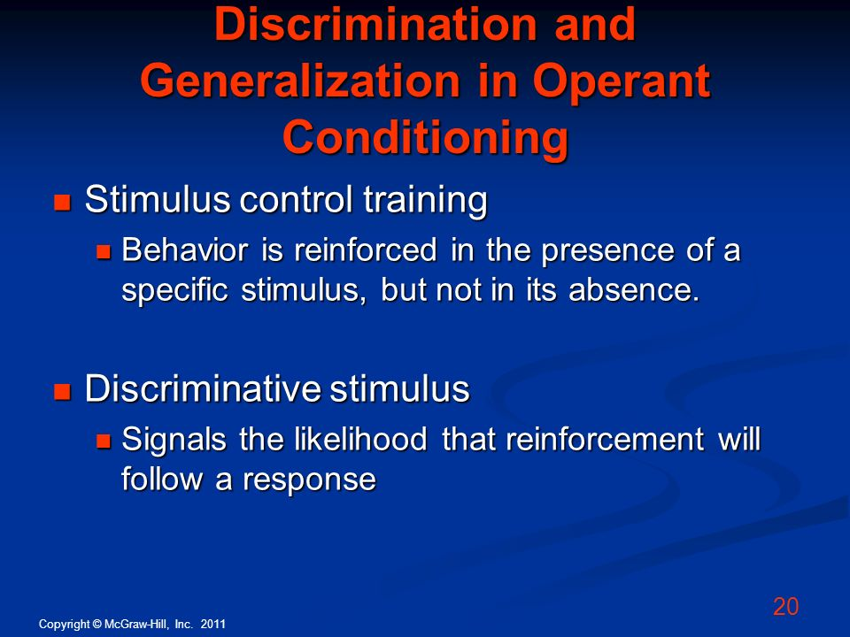 Discrimination and Generalization in Operant Conditioning