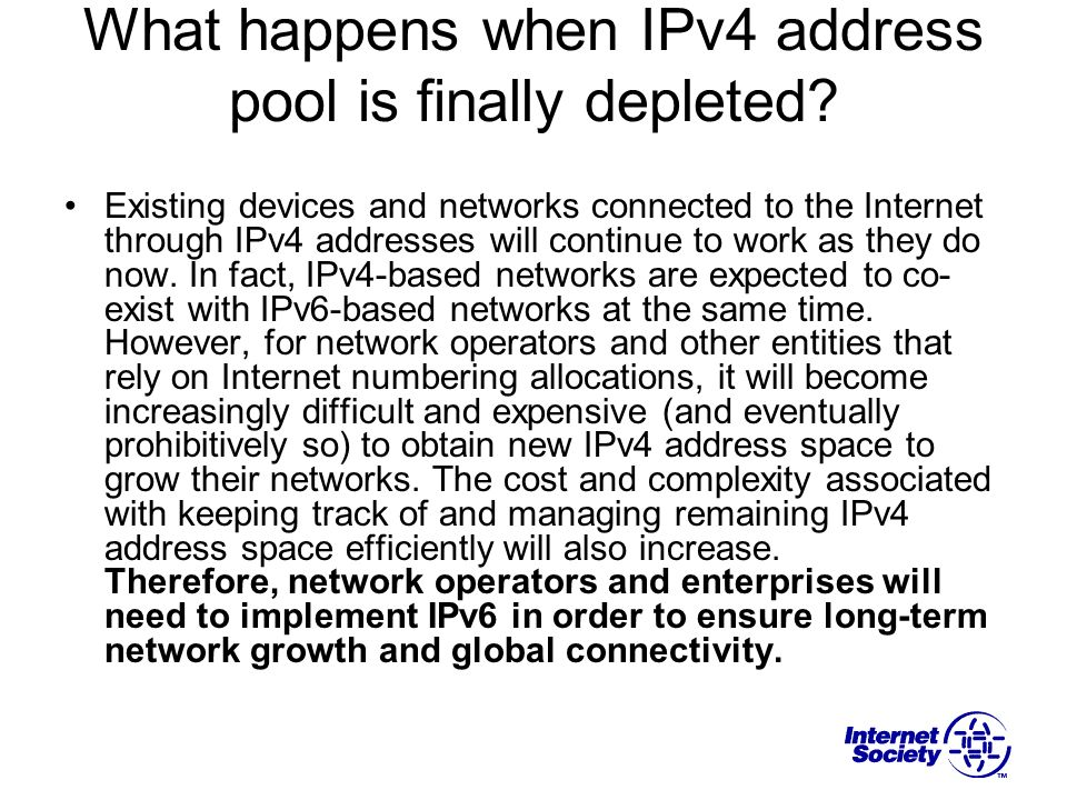 What happens when IPv4 address pool is finally depleted