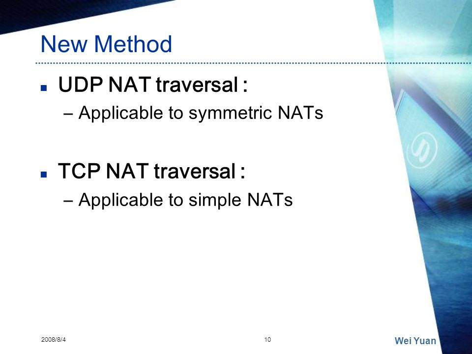 New Method UDP NAT traversal : TCP NAT traversal :