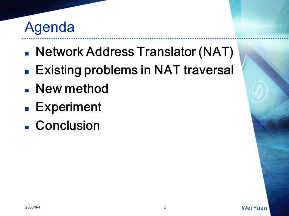 Agenda Network Address Translator (NAT)