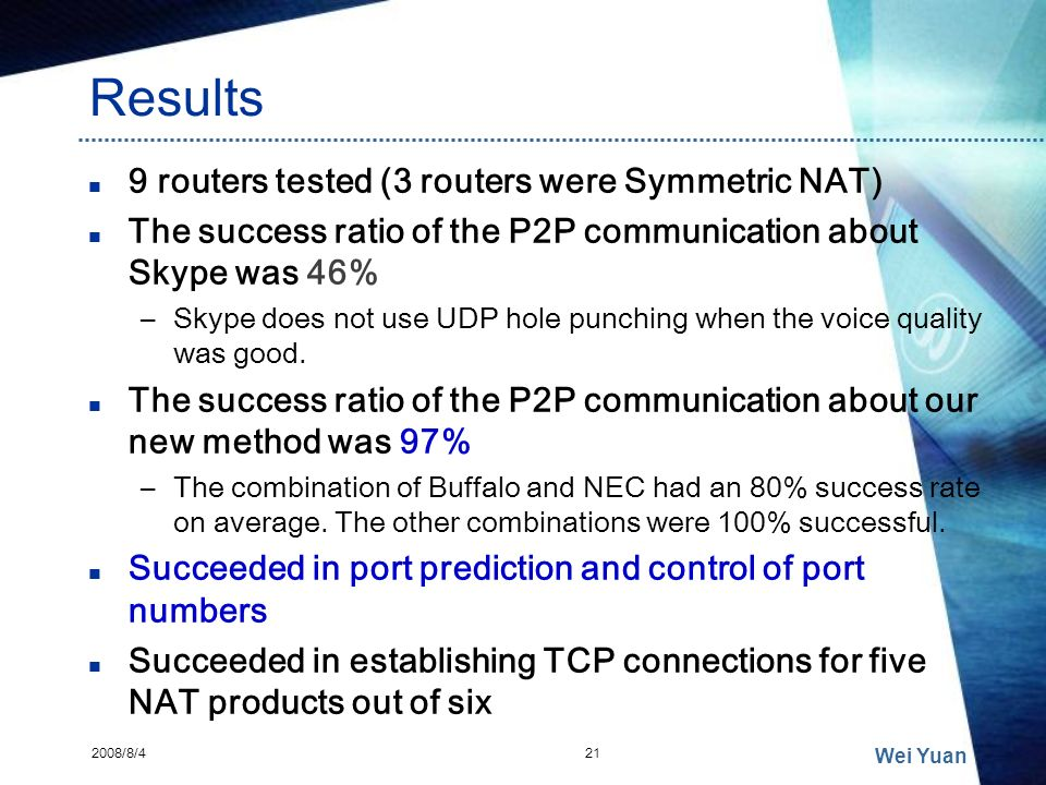Results 9 routers tested (3 routers were Symmetric NAT)