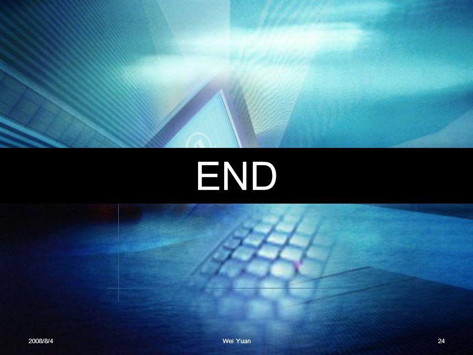 END 2008/8/4 Wei Yuan