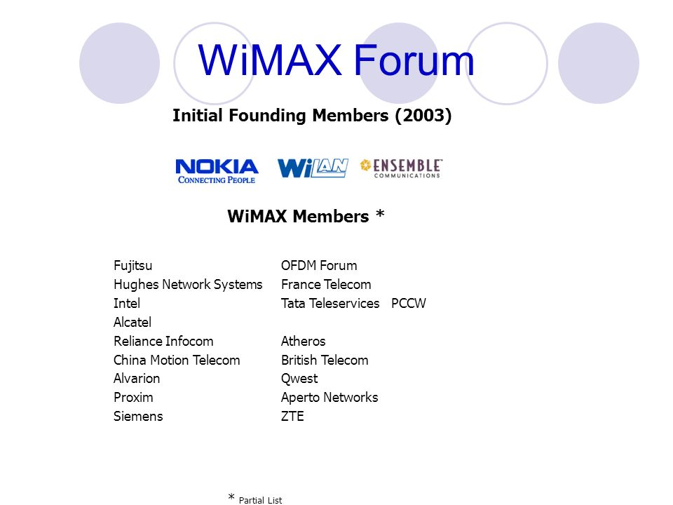 WiMAX Forum Initial Founding Members (2003) WiMAX Members *