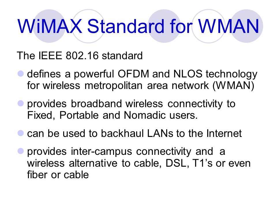 WiMAX Standard for WMAN