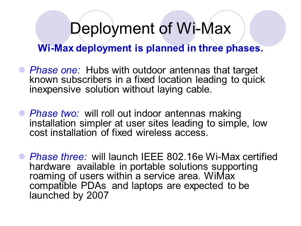 Wi-Max deployment is planned in three phases.