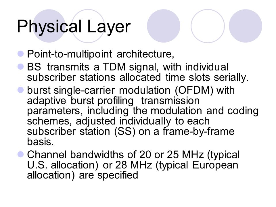 Physical Layer Point-to-multipoint architecture,